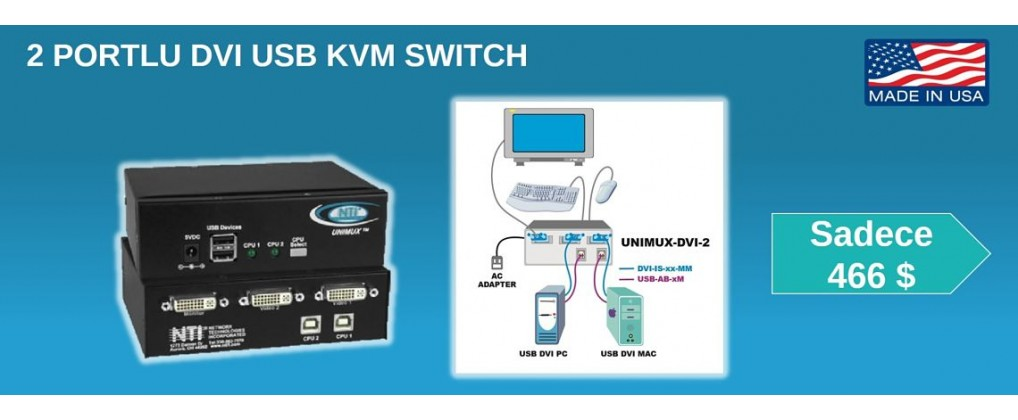 2 Portlu DVI USB KVM Switch