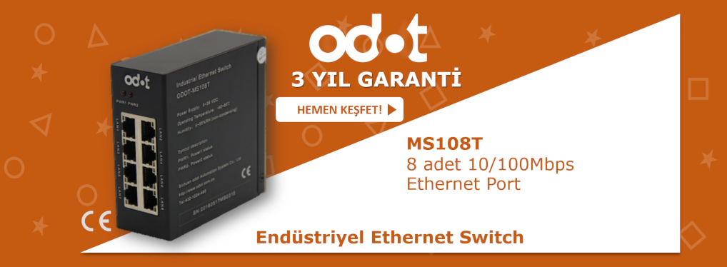 8 Portlu Endüstriyel Ethernet Switch